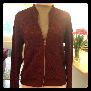 Jackets & Blazers - Floral lace maroon bomber jacket